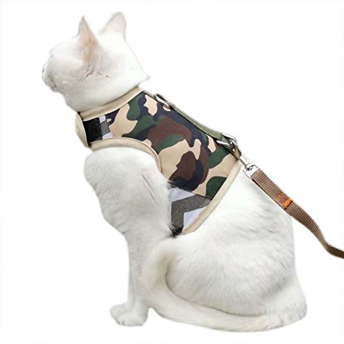 Yizhi Miaow Escape Proof Cat Harness with Leash Large, Adjustable Cat Walking Jackets, Padded Cat Vest Camo