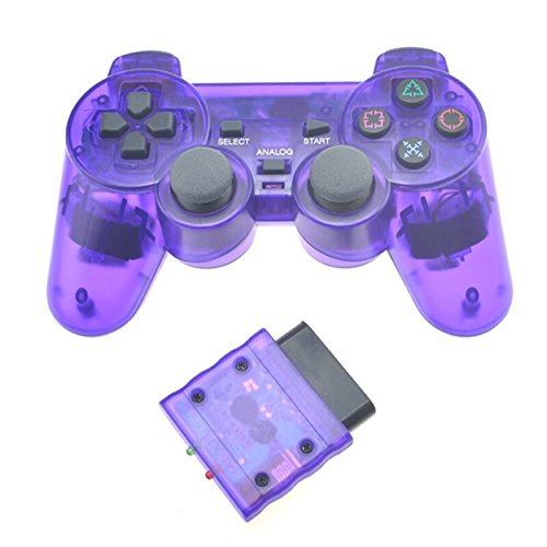Price comparison product image Transparent Color Wireless Game Controller 2.4G Vibration Controle Gamepad for Sony Playstation 2 (Purple)