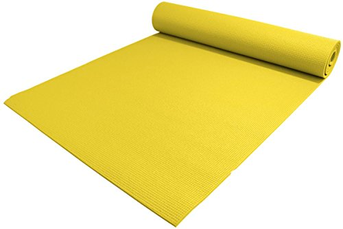 YogaAccessories 1/4' Thick High-Density Deluxe Non-Slip Exercise Pilates & Yoga Mat, Yellow