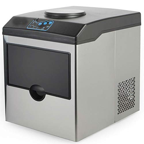 Stainless Steel Water Dispenser w/Built-In Ice Maker Machine Counter Portable