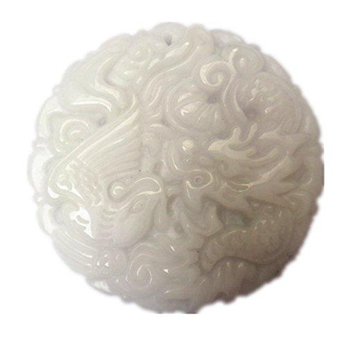 Natural white jade pendant dragon phoenix mascot