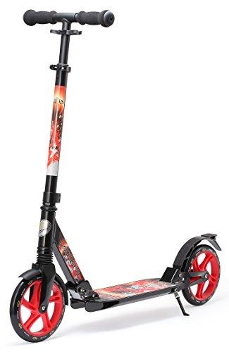STAR-SCOOTER® Premium City Scooter für gelenkschonenden Komfort auch auf dem Schulweg ★ 205mm Vollgefederte Fully Edition ★ Schwarz & Rot