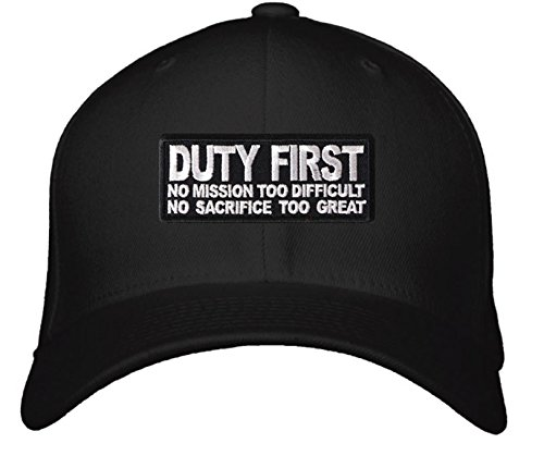 Duty First No Mission Too Difficult No Sacrifice Too Great Hat - Adjustable  Mens Black - War Veteran Cap at Amazon s Sports Collectibles Store 9dd673dfb
