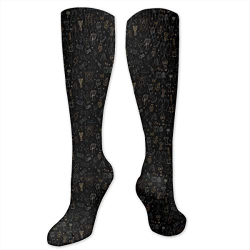 Unisex Ethnic Drums And Percussion Instruments Pattern Knee High Compression Thigh High Socks Tube Socks ()