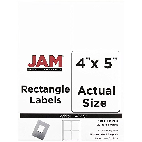 JAM PAPER Shipping Address Labels - Extra Large - 4 x 5 - White - 4 Labels per Page/120 Labels Total ()