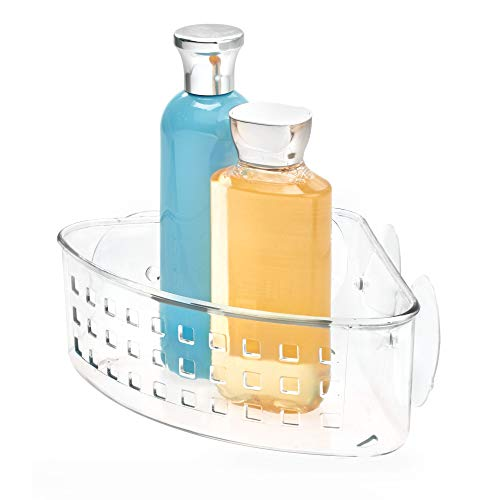 Corner Shower Trays - iDesign Plastic Bathroom Suction Holder, Shower Organizer Corner Basket for Sponges, Scrubbers, Soap, Shampoo, Conditioner, 9