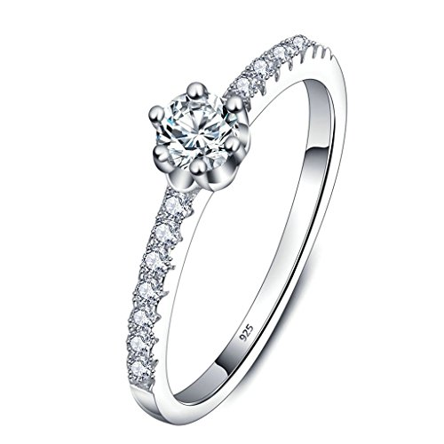 Daesar Silver Plated Pricess Rings Womens 6 Prongs Cubic Zircon Engagement Ring Size:5