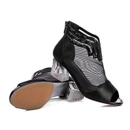 Glass Diamond Solid with Toe Black Peep Sandals Sheepskin Heels Womens Kitten AllhqFashion qzgTaa