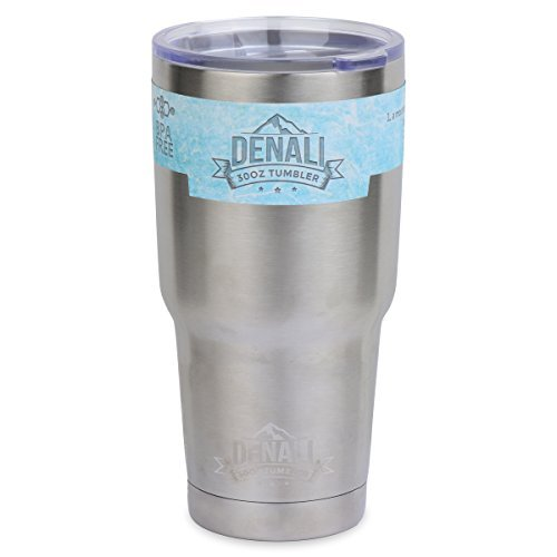 30oz Tumbler - Denali Drinkware Double-wall Insulated Stainless Steel Drinking Vacuum Mug with Lid fits in Cup Holders - Keeps Coffee Hot and Drinks Ice Cold - For College, Wedding Gifts, and Travel