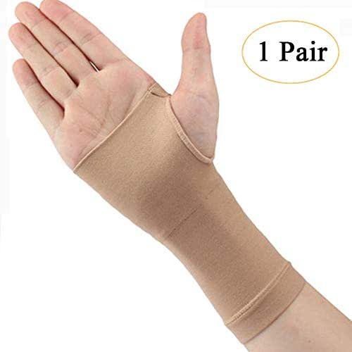 Compression Hand Wrist Brace (1 Pair), TOPSOW Elastic Thin Palm Support, Pain Relief Wrist Sleeves for Men Women Kids Carpal Tunnel Support, Arthritis, Sprained (Nude, L)