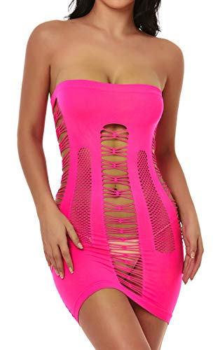 ADOREJOY Womens Lingerie Seamless Mesh Chemise Babydoll Bodysuit (Rose red,S)