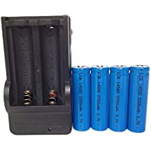Ponnky Charger with 4 pcs pack 3.7V 14500 2000mah Rechargeable Lithium Battery