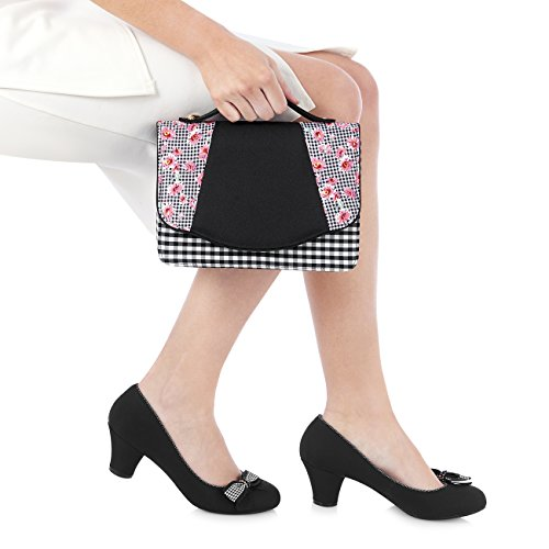Ruby Shoo Women's Lily Mary Jane Pumps & Matching Belfast Bag & Como Purse Black Pink M1v13