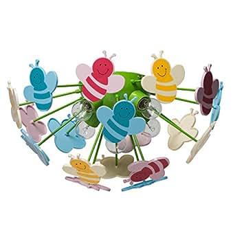 MW-Light 365015105 Lámpara de Techo Infantil en Plástico Ecológico Multicolor Con Lámpara decorativa Bee E14 5X40W Excl