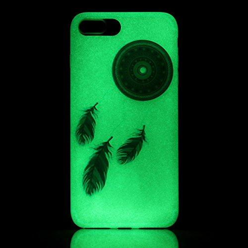 iPhone 7 / 8 Plus Hülle mit Fluoreszenz , Modisch Blaue Blume Transparent TPU Silikon Schutz Handy Hülle Handytasche HandyHülle Etui Schale Schutzhülle Case Cover für Apple iPhone 7 / 8 Plus