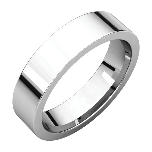 10K White 5mm Flat Comfort Fit Wedding Band by STU001-