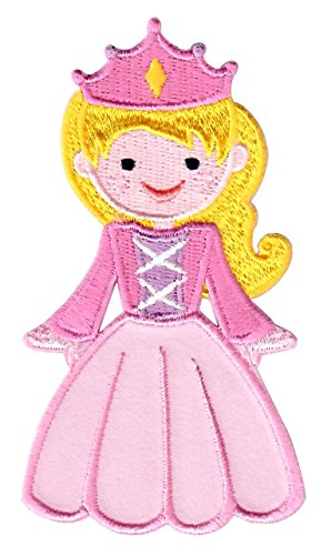 (PatchMommy Iron On Patch, Pink Princess - Appliques for Kids Children)