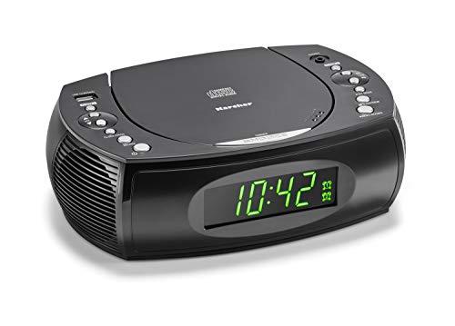 Karcher UR 1308 wekkerradio met cd-speler en FM-radio (20 zendergeheugens) – wekker met dual-alarm, USB-oplader & backup…