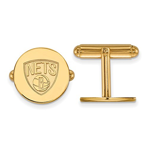 NBA 14k Yellow Gold Plated Sterling Silver Brooklyn Nets Cuff Links by LogoArt