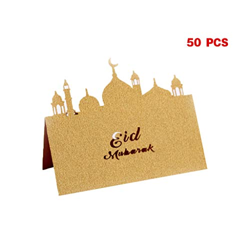 Setyuty 50pcs Castle Eid Mubarak Muslim Ramadan Wedding Party Invitation Table Place Card Name Reception Seatting Cards (Beige Gold)