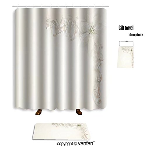 85OFF Vanfan Bath Sets With Polyester Rugs And Shower Curtain Christmas Border 34303432
