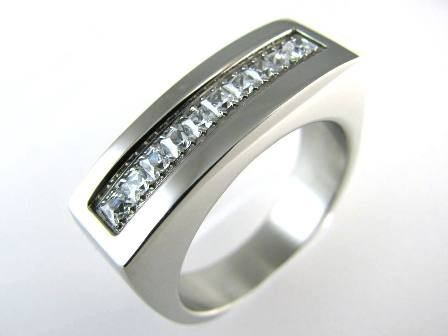 Stainless Steel Square Shoulder CZ Ring