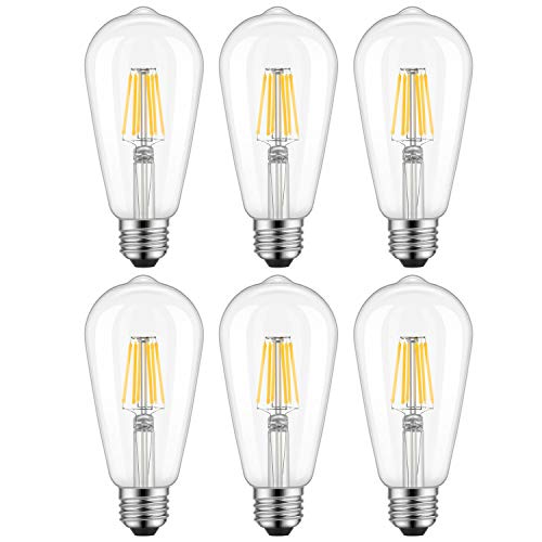 Dimmable Edison LED Bulb, Warm White 2700K, Kohree 6W Vintage LED Filament Light Bulb, 60W Incandescent Equivalent, ST64 E26 Medium Base Antique Style Lamp for Home, 6-Pack(NOT - E26 A19 60w Incandescent Bulb