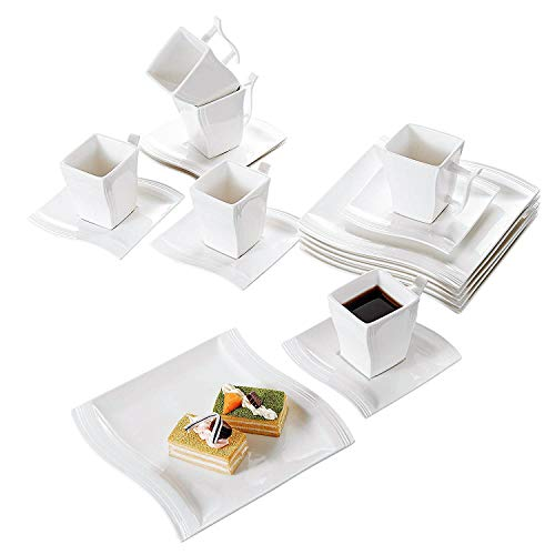 Malacasa 18-Piece Porcelain Teacups and Saucer Set with Coffee Cup Set Dessert Plates and Saucers Service for 6, Ivory White - Series ()