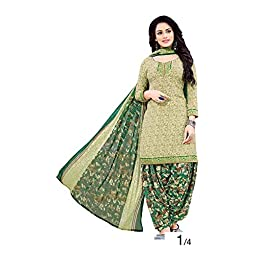 Pink Wish Women's French Crepe & Chiffon Unstitched Salwar Suit (PW_GREEN PATIYALA_Green_Free Size)
