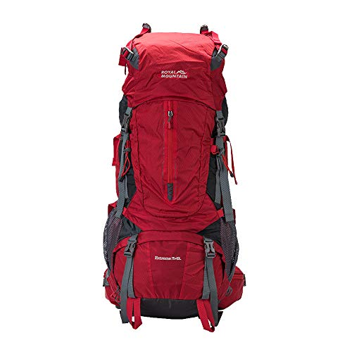 ROYAL MOUNTAIN 75L Backpacking Backpack, Large Capacity Waterproof Outdoor Sports Backpack with Rain Cover for Travel Adventure Trekking Camping Climbing, Red