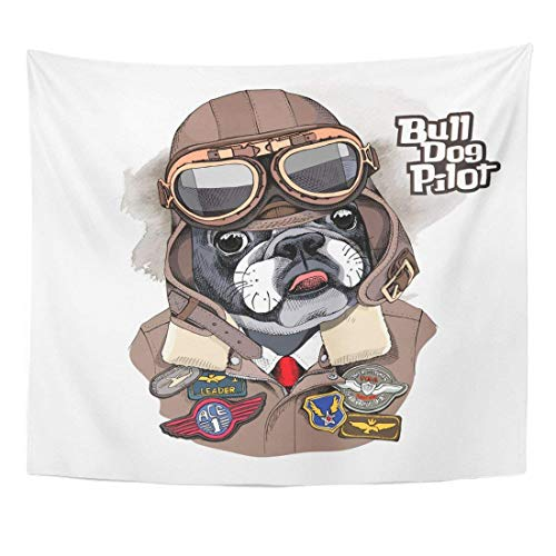 Tapestry Brown Dog Portrait of The French Bulldog in Aviator Helmet and Jacket with Sewing Patch Military Aviation Home Decor Wall Hanging for Living Room Bedroom Dorm 50x60 inches