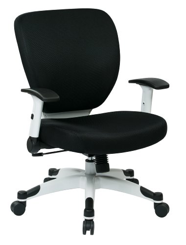 Deluxe Synchro Tilt Mesh (SPACE Seating Professional Deluxe Padded Mesh Seat and Back, 2-to-1 Synchro, Adjustable Arms and Tilt Tension with White Coated Nylon Base Frame Task Chair, Black)