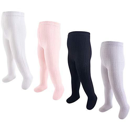 Hudson - Medias de algodón para bebé, 4 unidades, Light Pink/Black Cable Knit, 0-9 Meses