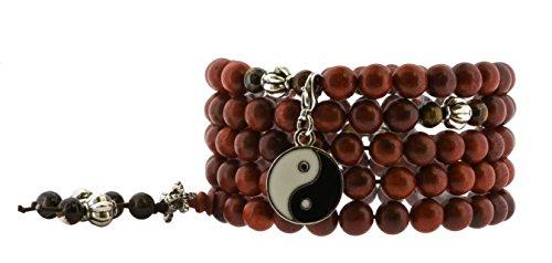 Meditation 8mm Red Wood Tiger Eye 108 Prayer Beads Mala Yoga Wrap Bracelet (Yin Yang) Yin Yang Bag