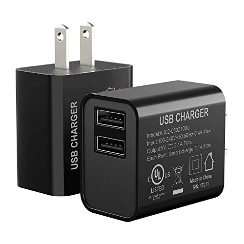 USB Wall Charger, Seneo Charging Adapter, 2-Pack 5V 2.1Amp Dual-Port Travel Wall Charger Charging Plug for Standard Wireless Charger, iPhoneX/8/7, iPad Pro/Air 2/Mini 3/ Mini 4 and More
