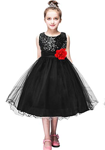 OMZIN Girl's Black and Gold Toddler Dress Party Dress Floral Tutu Dress Cute Party Dress Black 6-7 Years