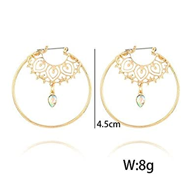 Ziory Gold Vintage Antique Crystal Circle Hollow Carving Dangle