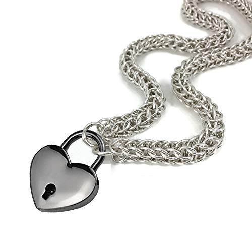 Women Men Collar Choker Stainless Steel Lolita Collar China Necklace Heart Padlock Necklace with Elegant Box (B)