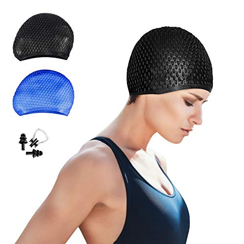 (CosyInSofa Swim Cap, Women Silicone Swimming Cap for Long/Curly/Braids Hair Unisex Adult Kids Bathing Cap, Keep Hair Dry with Nose Clip and Ear Plugs (Black))
