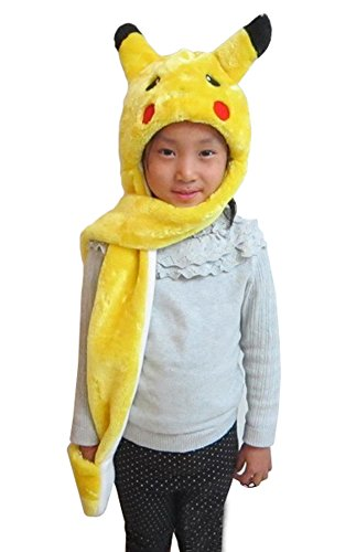 Tonwhar Cartoon Animal Hood Hoodie Hat with Attached Scarf and Mittens (Pikachu)