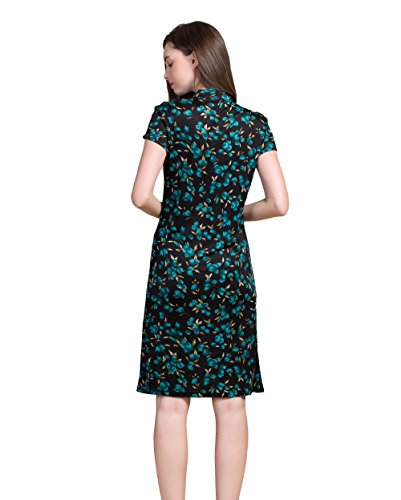 Summer Silk Silk Dress Colorful Women's Gr CLC Slits Printed Mulberry Color Dress Side x0IddYrq