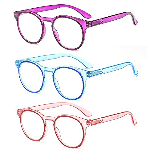 (SUERTREE Anti Blue Reading Glass 3 Pack Spring Hinge Yellow Tint Computer Glasses Transparent Frame Men Women Comfort Anti Rays Eyewear)