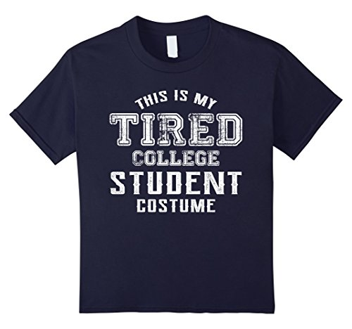 Kids Halloween Costume Shirt This Is My Tired College Student Cos 12 Navy (Halloween Costumes For College Girls)