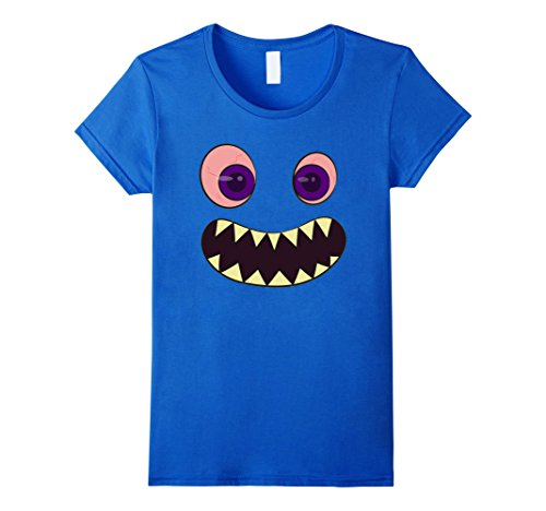 Womens Happy Monster Costume Tshirt Halloween Cute Funny Face Tee Large Royal Blue