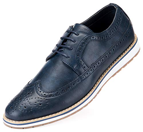 - Mens Casual Shoes Classic Wingtip Oxford Business Dress Shoes for Men - in A Shoe Bag Navy Blue