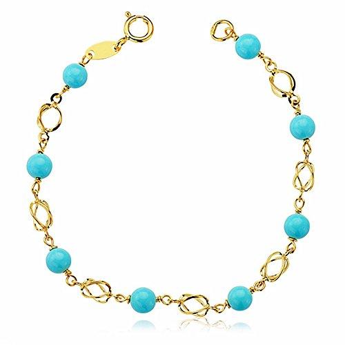 Bracelet Or 18k bébé turquoise 13.5cm. [AA1915]