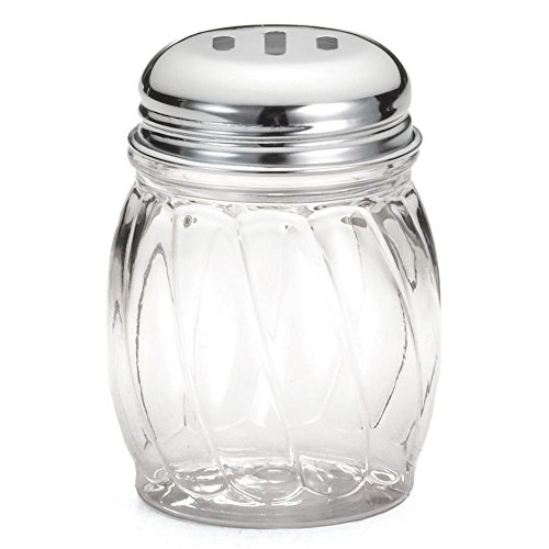 (Great Credentials Grated Cheese or Red Pepper Swirl Glass Shaker (Slotted Top))