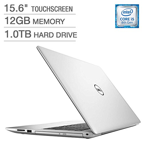 - Dell Inspiron 15 5000 15.6-inch Touchscreen FHD 1080p Premium Laptop, Intel Quad Core i5-8250U Processor, 12GB RAM, 1TB Hard Drive, DVD Writer, Backlit Keyboard, Bluetooth, Silver