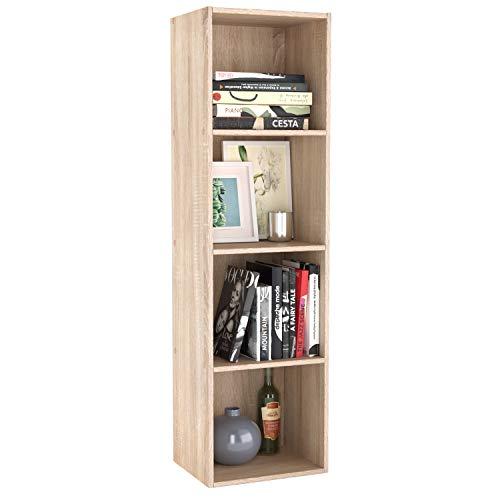 Homfa Estanteria para Libros Estanteria de Pared Libreria con 4 Niveles para Salon Estudio Roble 30x30x106cm