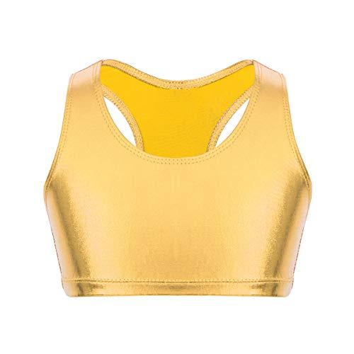 Alvivi Kids Girls Glittery Sequin Halter Neck Bra Top Ballet Dance Performance Costume Crop Tops Metallic Gold 7-8